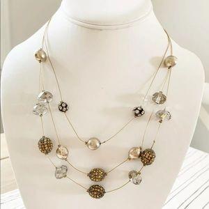 Chico's Wire Necklace Gray Clear Rhinestone Silver